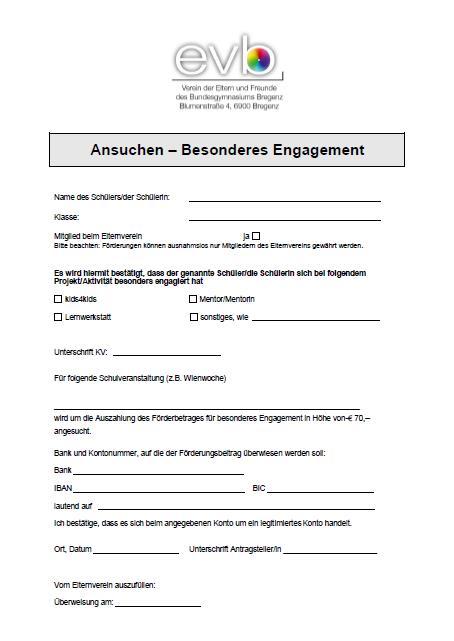 Förderansuchen besonderes Engagement als pdf
