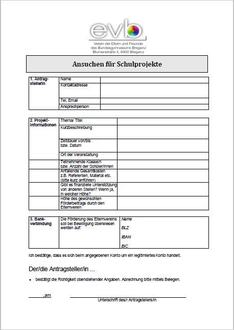 Förderansuchen Schulprojekte als pdf